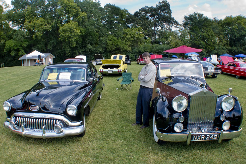 """James Coats with 1952 Buick """"Jack"""" and 1951 Rolls-Royce """"Catherine"""""""