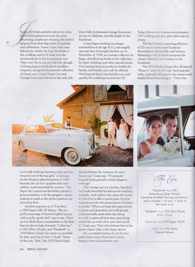 "Alabama Magazine Spring 2014 Bridal Edition, page 24, featuring ""Elizabeth"". Photo, Unplugged Photography. (C) 2014 Chavers Media LLC, Used with permission."